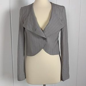 NWT Tulle Gray Pinstriped Cropped Blazer - M
